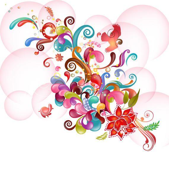 Floral abstracto colorido y remolinos en burbujas