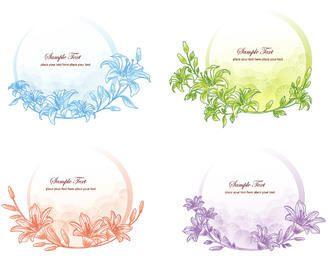 Pacote de Banner Circular Simplista Floristic Frame