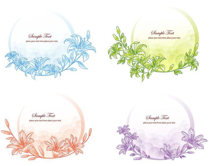 Simplistic Floristic Frame Circular Banner Pack