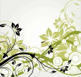 Wirbelnde lange vereinfachende abstrakte Blumenniederlassungen