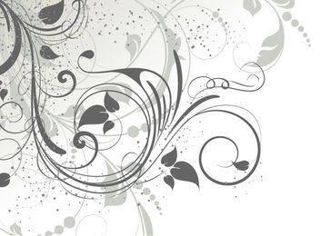 Wirbelndes Grey Abstract Floral mit Grunge