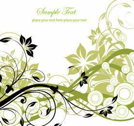 Swirling Floral Background with Circles
