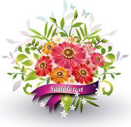 Ramo de flores con saludo de la cinta