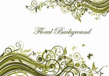 Fondo de remolinos florales verdes