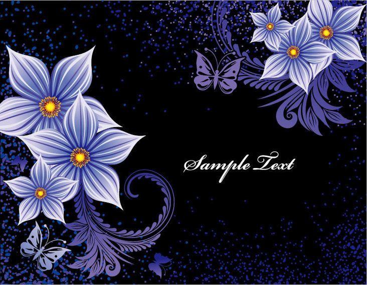 Resumen las esquinas de las flores de fondo negro