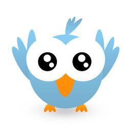 Twitt hellblaues Symbol