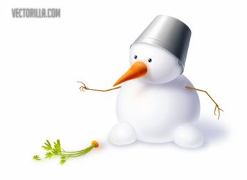 Lindo muñeco de nieve con zanahoria y sombrero