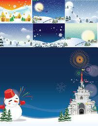 Funky Style Snowy Christmas Background Pack