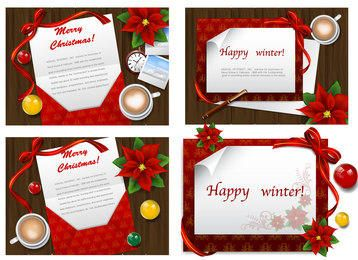 4 Stylish Greeting Cards on Wooden Board