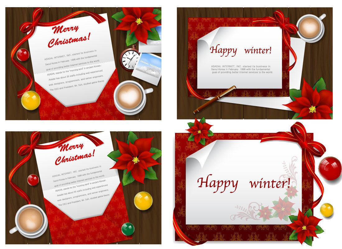 4 Stylish Greeting Cards On Wooden Board Vector Download