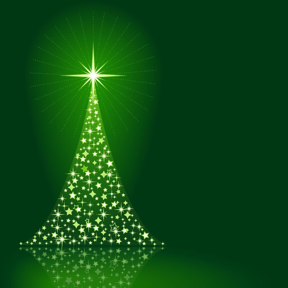 Sparkling Christmas Tree on Green Background - Vector download