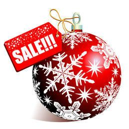 Christmas Sale Tag with Red Bauble