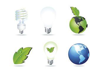 Eco e conjunto de ícones de poupança de energia brilhante