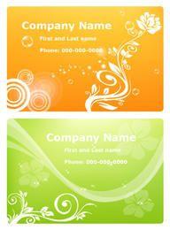 Orange & Green Floristic Cartões de visita