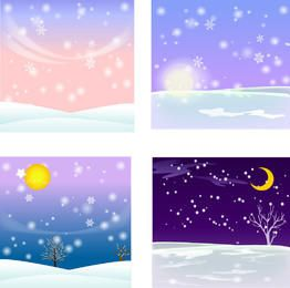 4 Winter Themed Snowy Backgrounds