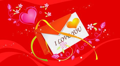 Red Valentine Card with Hearts & Flowers