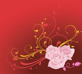 Rosa Rosa com Red & Yellow redemoinhos de fundo