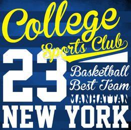 Colégio logotipo do basquetebol tipografia de impressão; trabalhar desgaste tipografia; t-shirt gráficos; vetor