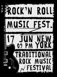 Guitarra eléctrica dibujada mano fresca del grunge con el texto torcido en él. Estrella de rock. Imagen vectorial eps10.