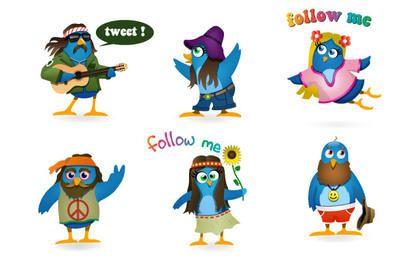 Conjunto de ícones do Twitter Woodstock
