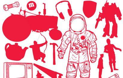 Silhuetas de pessoas grátis Vector e conjunto de ícones de objetos
