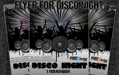 Flyer de vetor para noite de discoteca