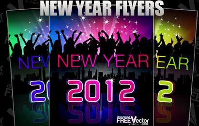 Ano novo Flyer em vetor.