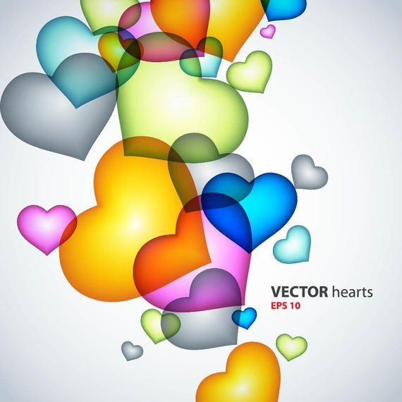 corazones de colores fondo - photo #27