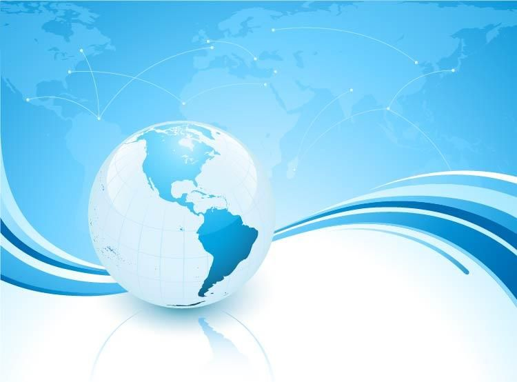 Blue Wavy Background With World Map And Planet Vector Download