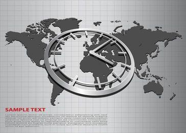 Fundo de negócios com o mapa do mundo e o relógio