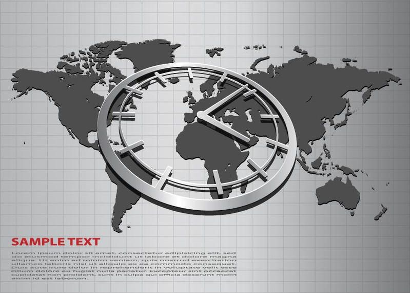 Business background with world map and clock vector download business background with world map and clock gumiabroncs Gallery