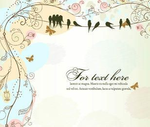 Funky Antique Floral Template with Birds