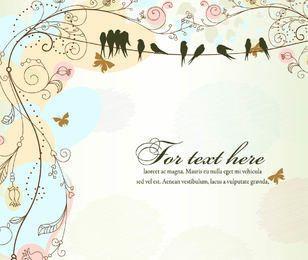 Template antigo floral Funky com pássaros