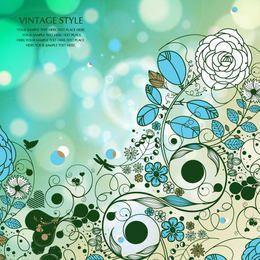 Flores retro con fondo de burbujas y mariposa
