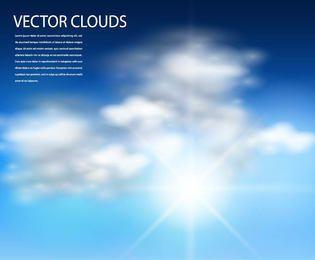 Sol realista con fondo de cielo nublado