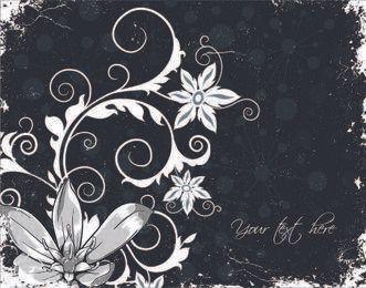Grungy Blumenhintergrund mit wirbelnden Blumendämpfen