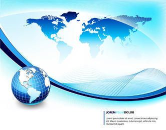 Fundo azul de negócios com globo e ondas