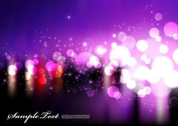 Fondo púrpura con luces borrosas de bokeh