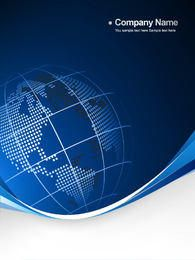 Blue Globe Curvy Edge Business Background