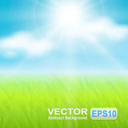 Céu ensolarado realista com chão gramado