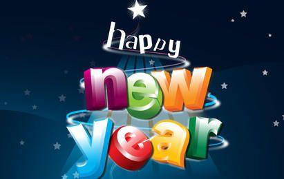 Happy New Year 3D Lettering
