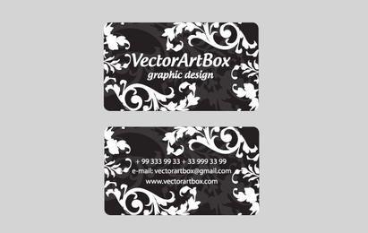 Cartão de visita floral branco