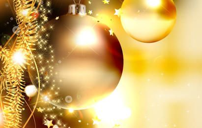 Golden Ornaments Christmas Background