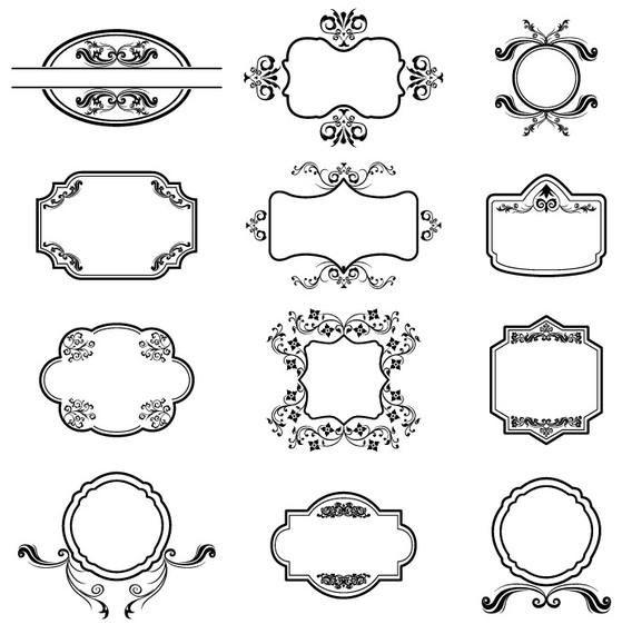 Glasses Frame Vector : Heraldic Vector Frames - Vector download