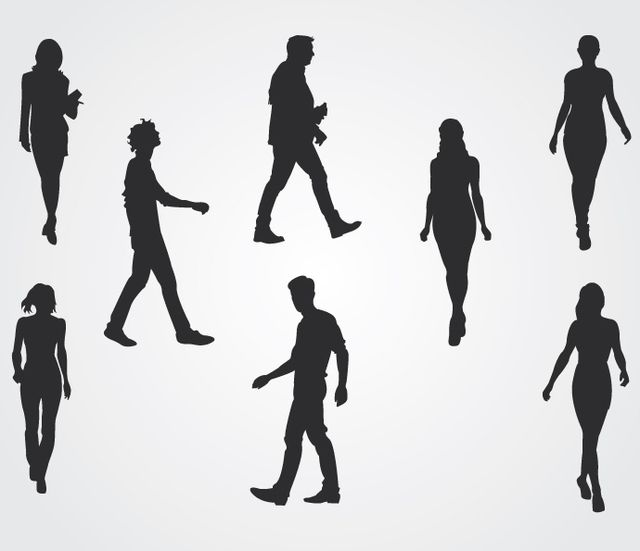 Walking People Silhouettes - Vector download