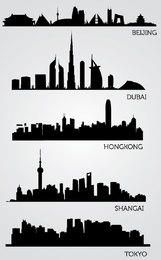 Asian Skyline Silhouettes