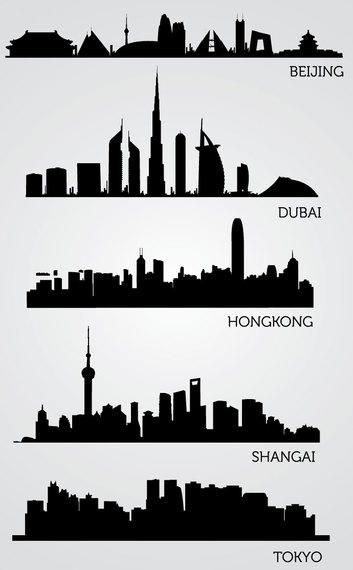 Asian Skyline Silhouettes Vector Download