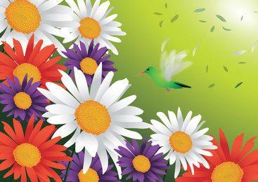 Spring Flowers Bird