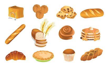 Conjunto de productos de panadería