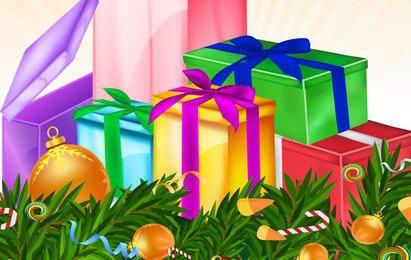Cartão de Natal com variedade de presentes